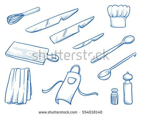 Icon Set Of Different Cooking Or Kitchen Supplies As Some