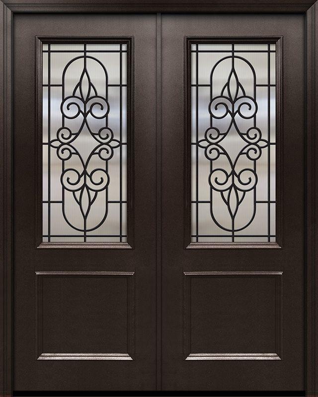 96 Thermaplus Steel Salento 1 Panel 2 3 Lite Gbg Double Door Double Doors Steel Salento