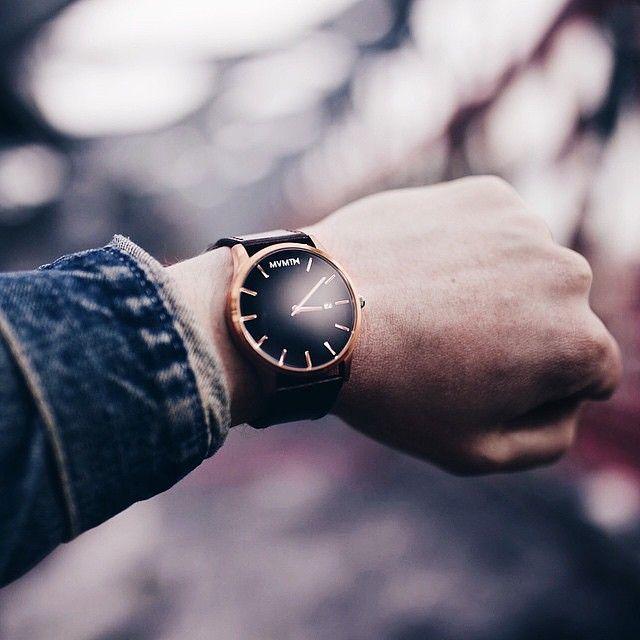 Denim x Rose Gold x Black Leather Watch.