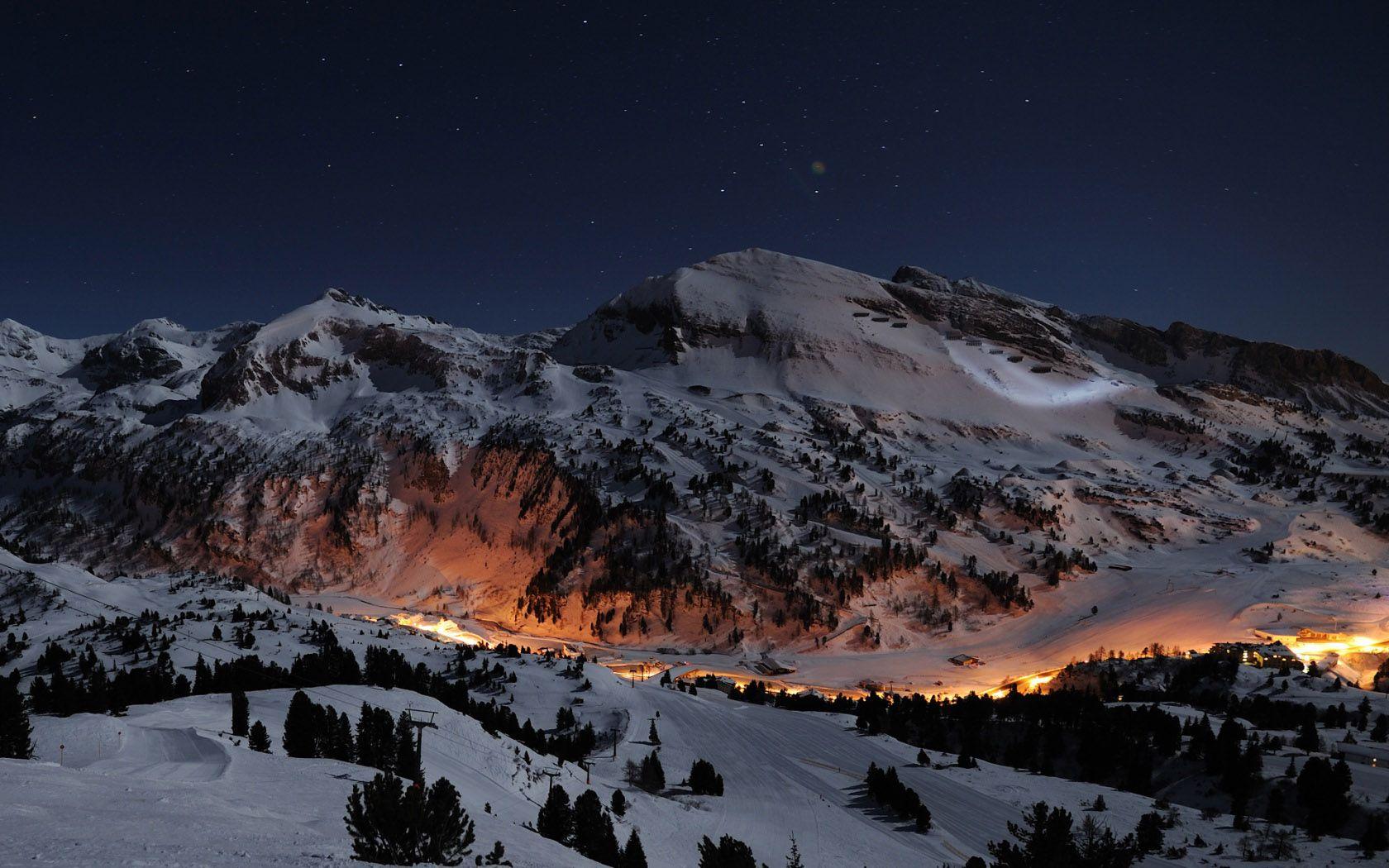 Beautiful Night Ice Mountains HD Wallpaper Wallpapers