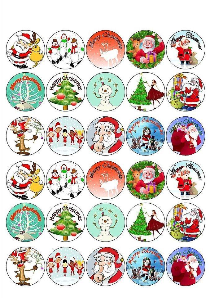 12 PRE CUT EDIBLE RICE WAFER PAPER CARD CHRISTMAS XMAS SANTA CUPCAKE TOPPERS