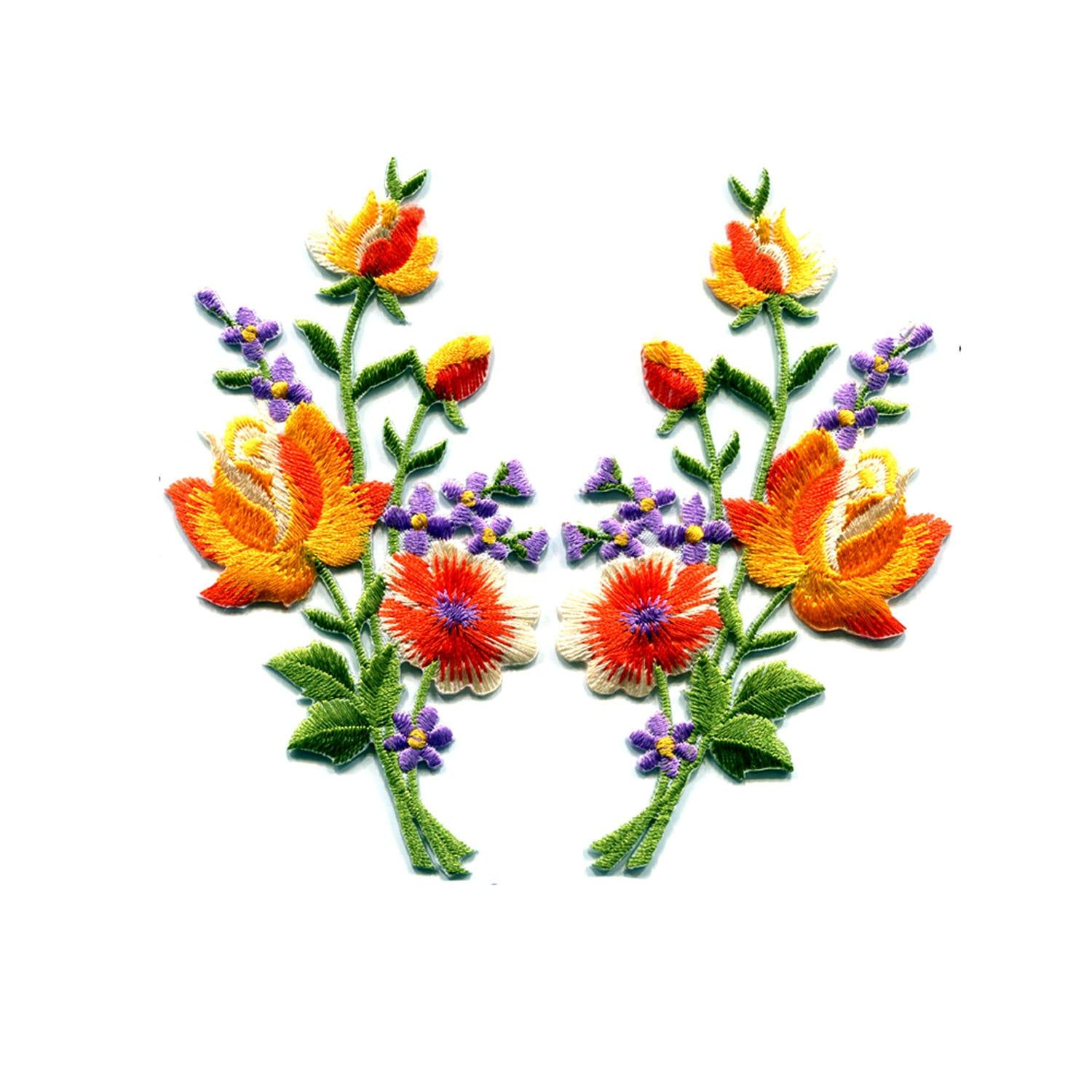 A Pair of Orange Rose FLower Bouquet Embroidered Iron On