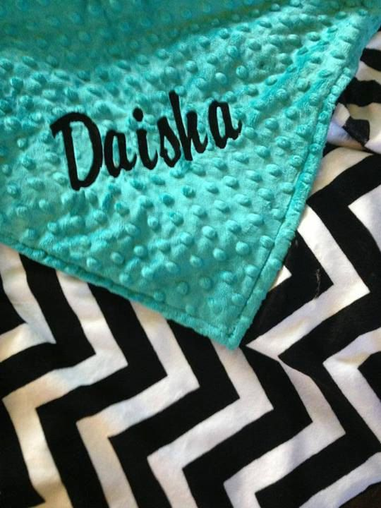 Black  White Chevron and Teal Dimple Minky Blanket