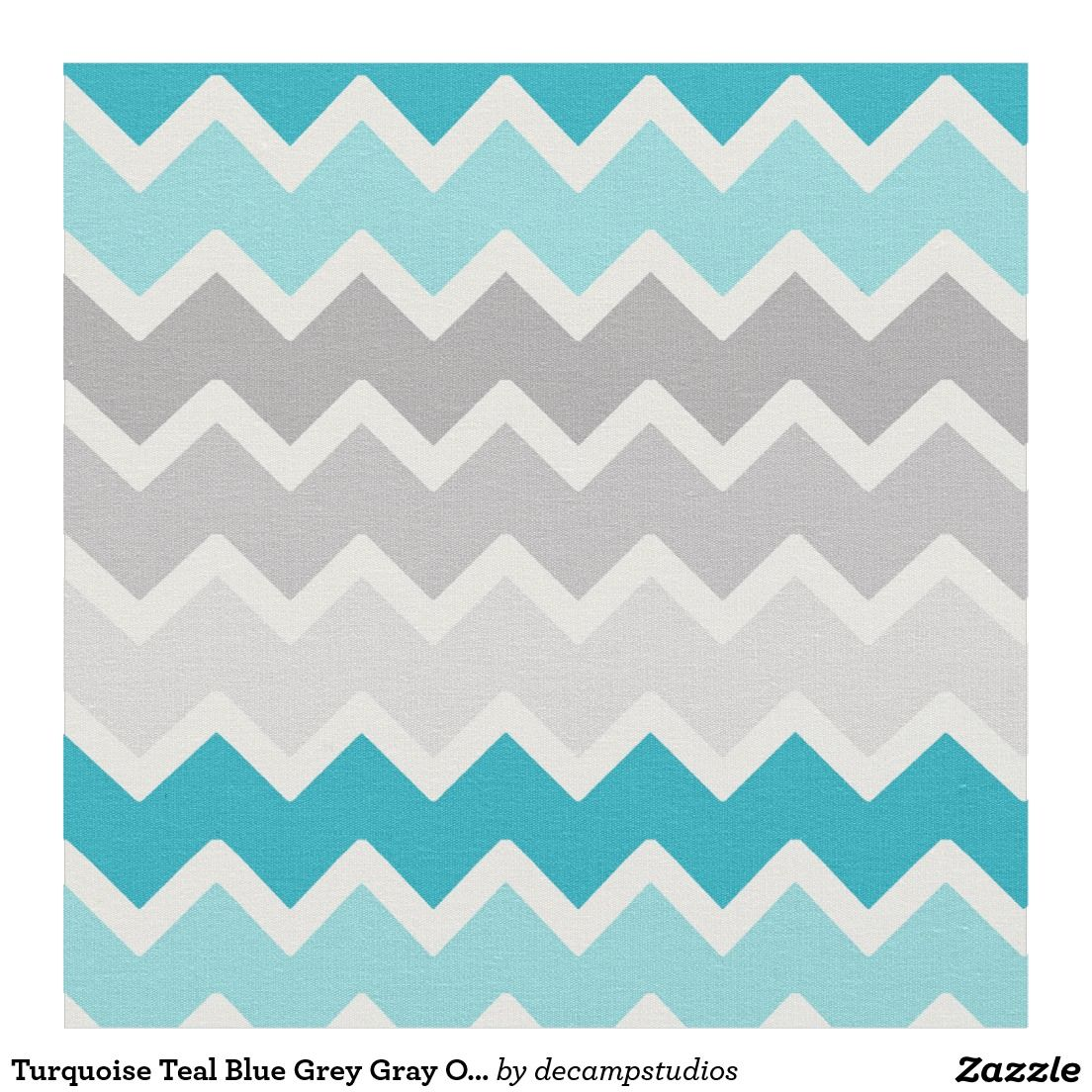 Turquoise Teal Blue Grey Gray Ombre Chevron Fabric Grey