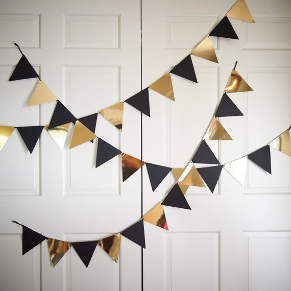 Bunting Banner for Black and Gold Party Decor ships in 13