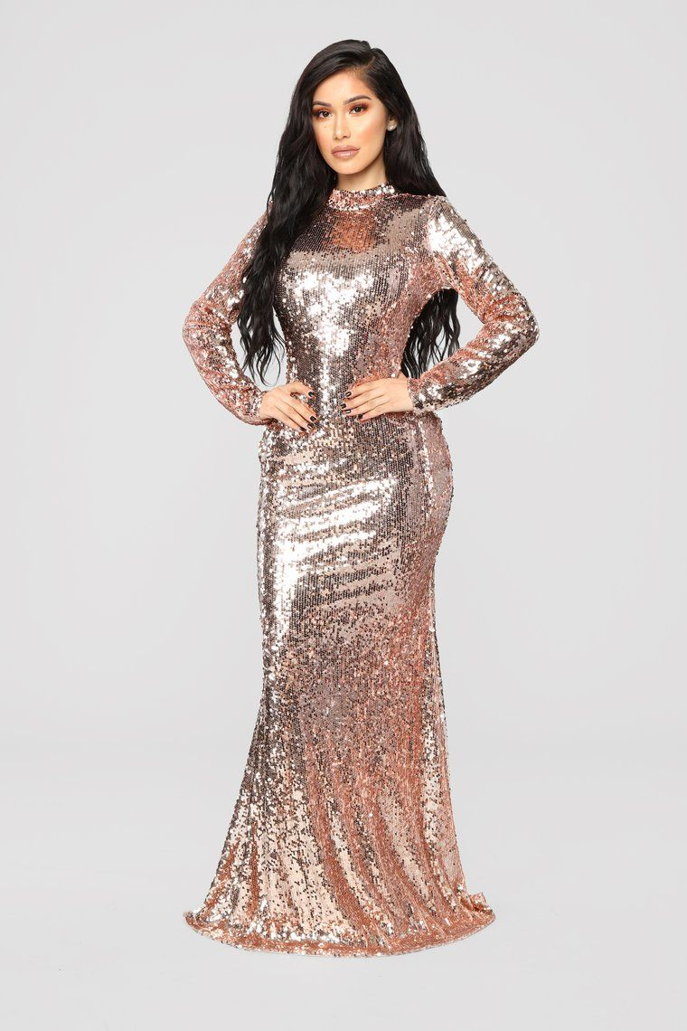 Practically Famous Sequin Dress Rose Gold Long Sleeve Sequin Dress Long Sequin Dress Sequin Dress