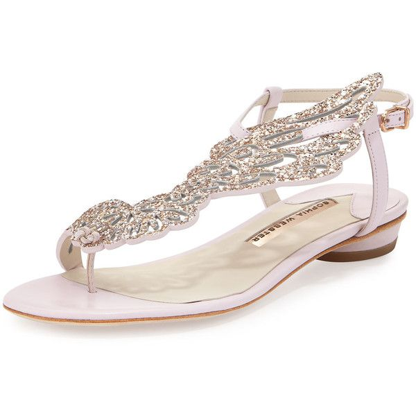Sophia Webster Seraphina Angel-Wing Flat Sandal (465 AUD) ❤ liked on Polyvore featuring shoes, sandals, pink glitter, flat shoes, embellished flat sandals, ankle strap sandals, glitter flat shoes and ankle wrap flat sandals