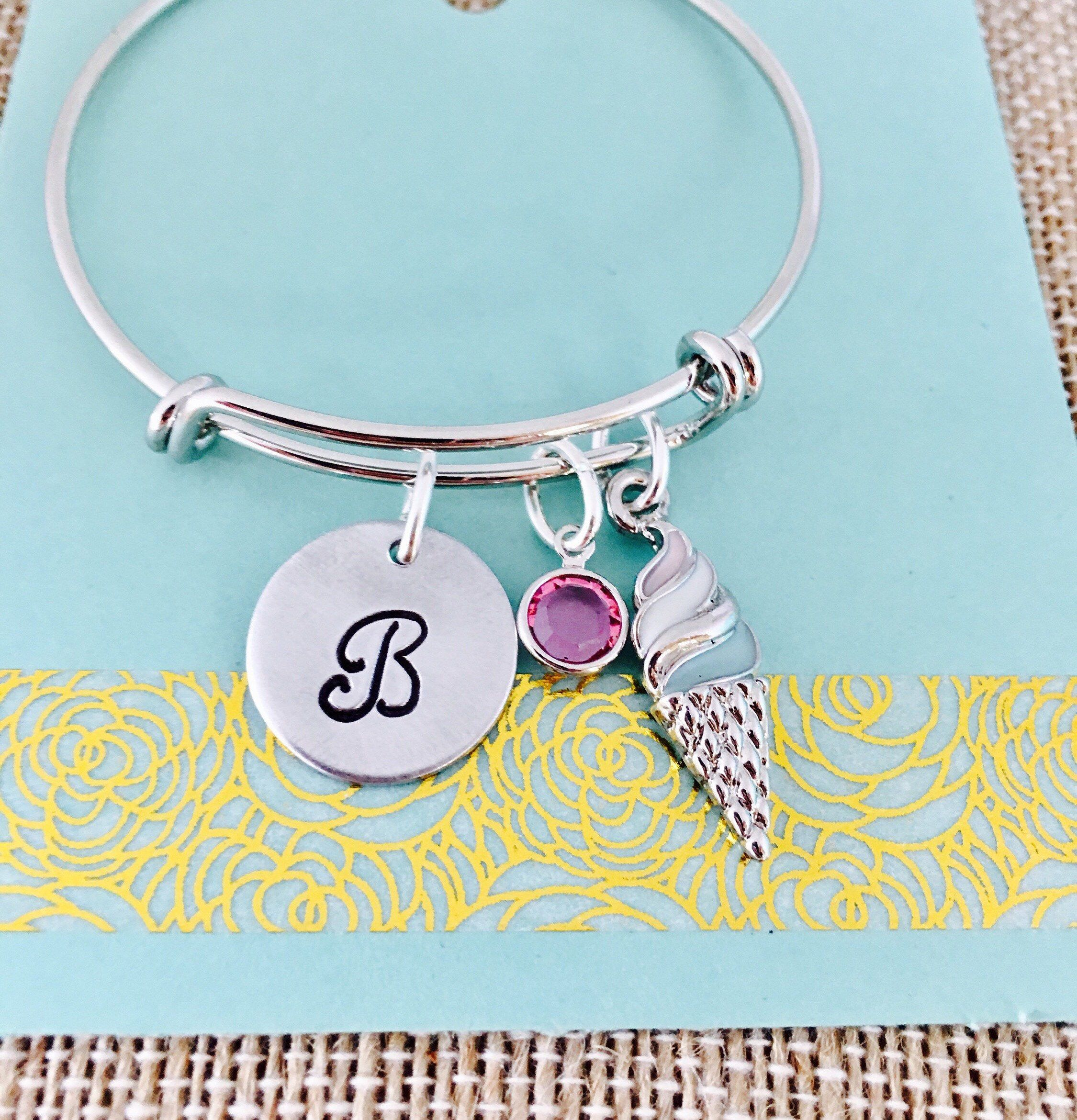 Personalized girls bracelet little girls jewelry ice cream charm