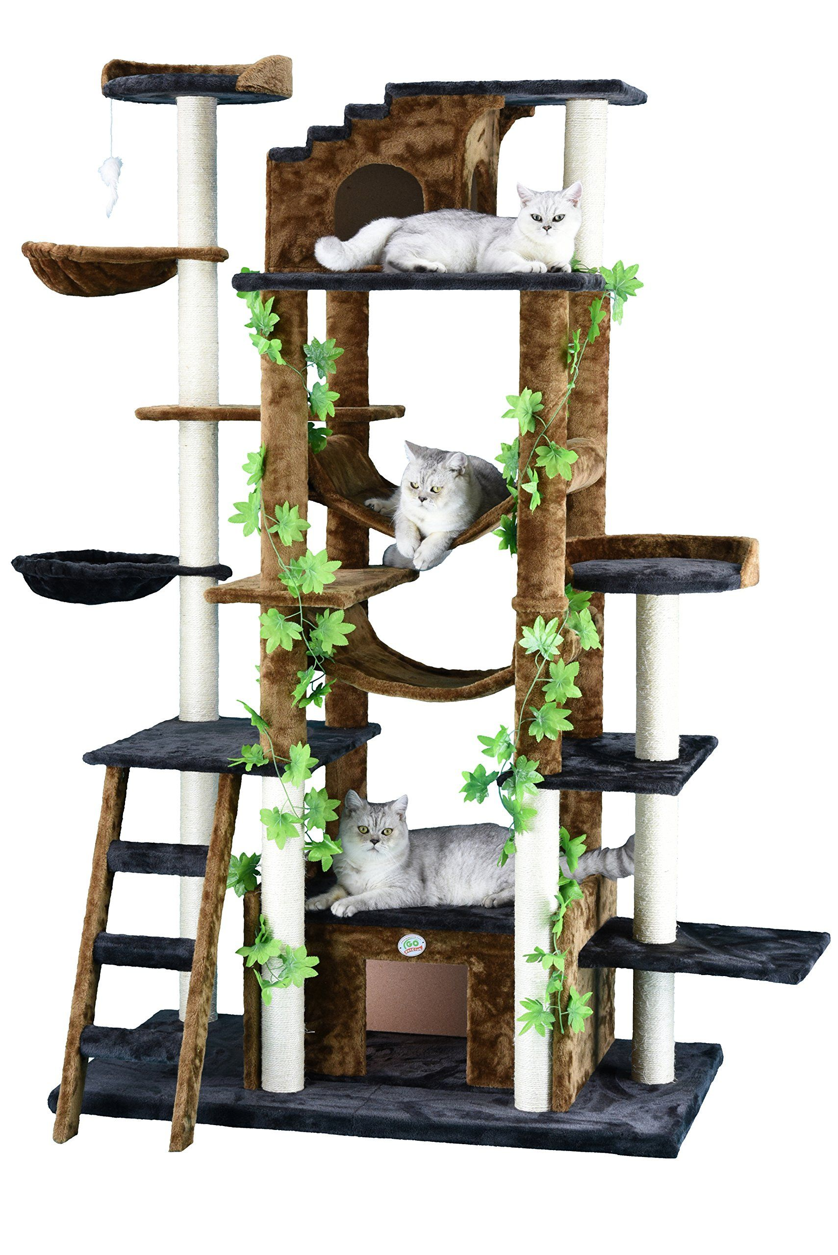 Go Pet Club 77Inch Cat Tree Brown/Black Make certain to