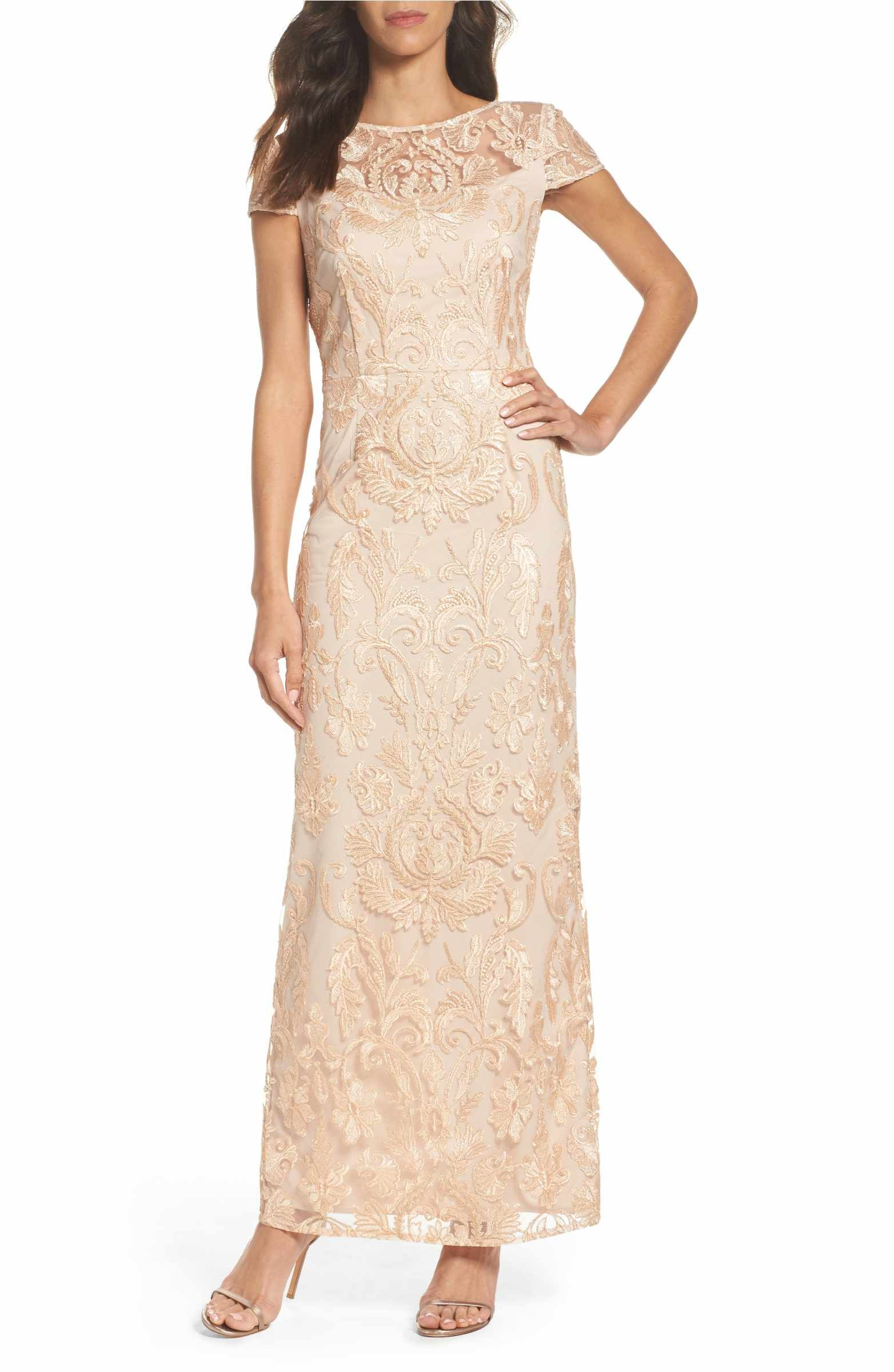 Lace Column Gown | Columns, Gowns and Illusion neckline