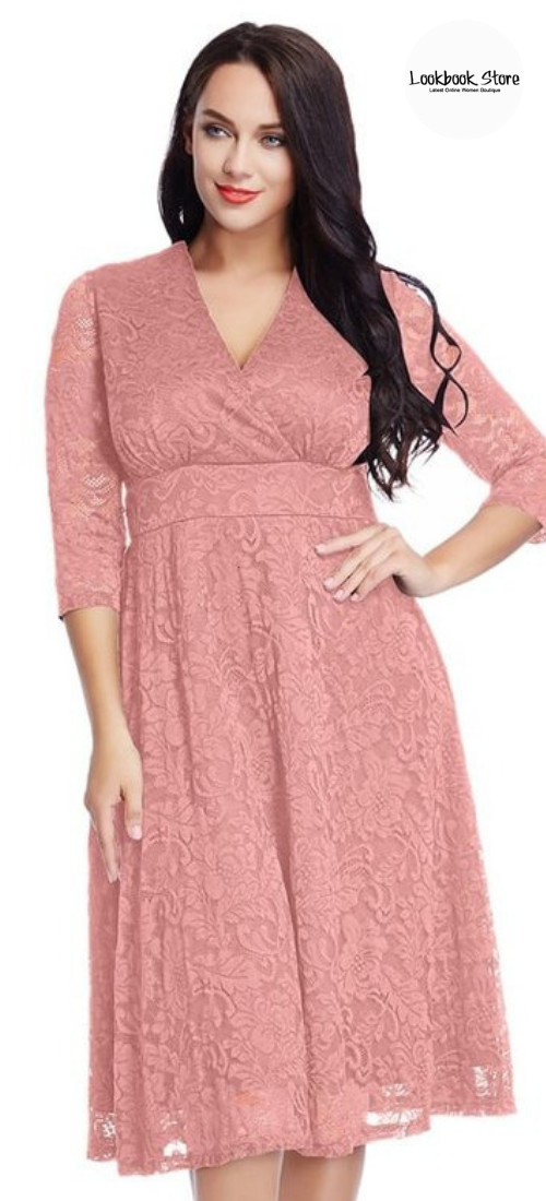 434b3cc5bf09 Plus Style    Let your inner beauty bloom when you slip into this beautiful plus  size old rose lace surplice midi dress on your next event.