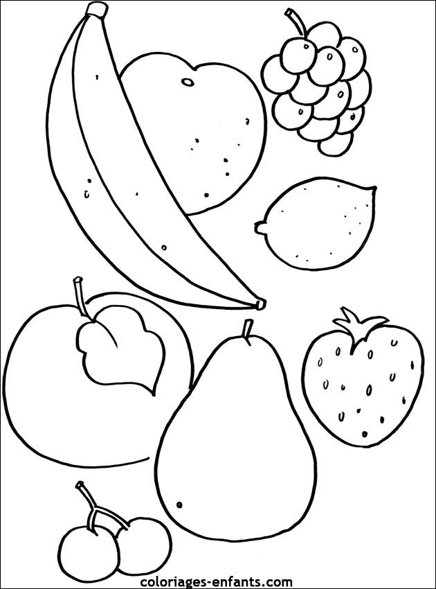 Coloriage Les Fruits.Coloriages De Fruits Et Legumes Fruits Legumes Plantes