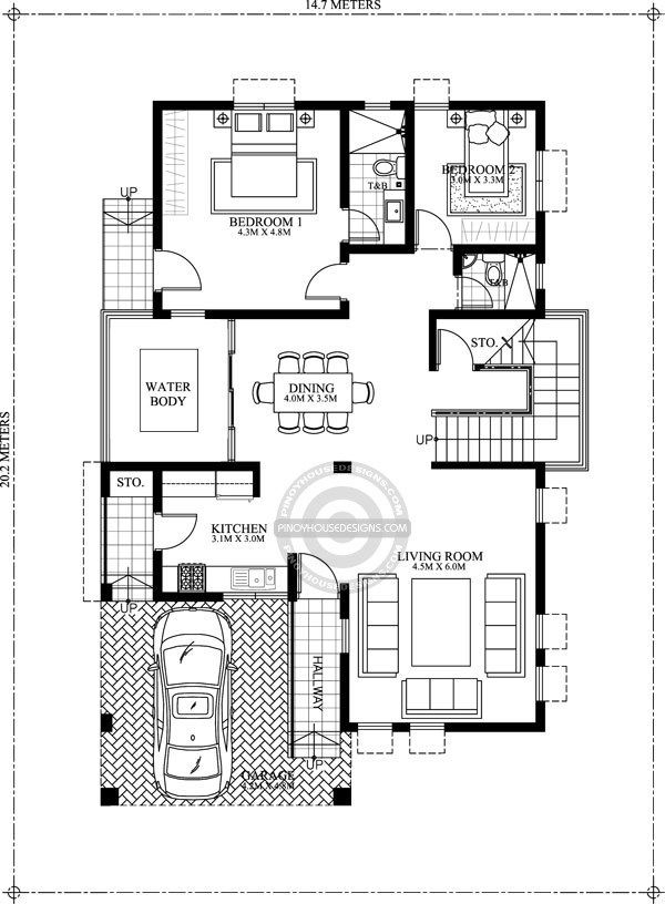 Home Design Plan 14x20m With 5 Bedrooms Home Design With Plan Duplex House Plans Double Storey House Plans Indian House Plans