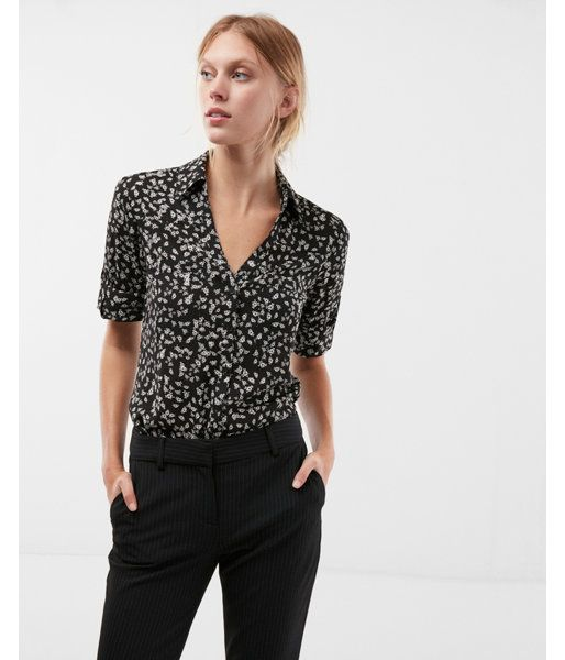 31e46502495d8 Original Fit Floral Portofino Shirt Black And White Women s Small ...