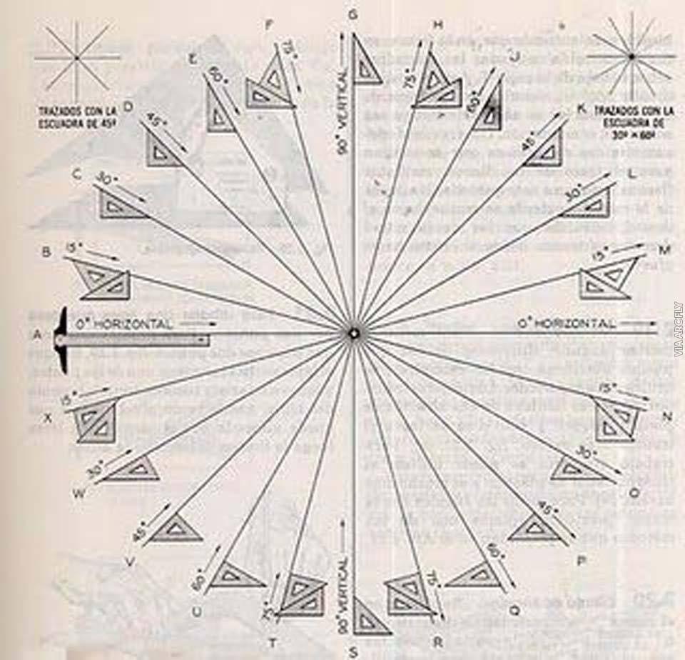 Image Result For Angulos Con Escuadras De Dibujo Tecnico Tecnicas De Dibujo Dibujo Tecnico Arquitectonico Arte De Geometria