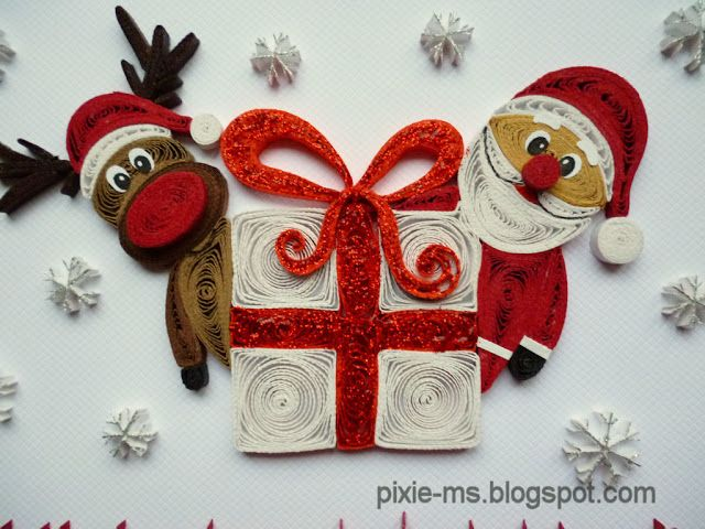 Santa & Rudolph with gift quilling card