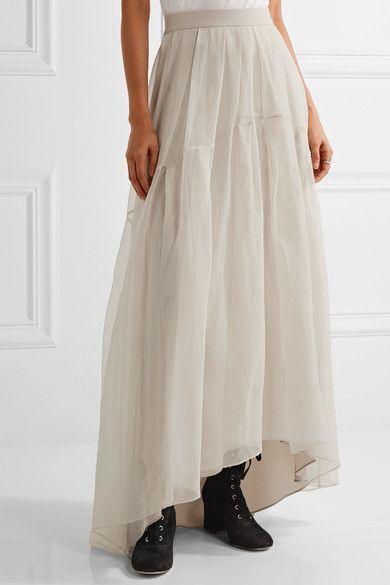 22d23247b Brunello Cucinelli - Pleated silk-organza maxi skirt | Grown-Up Goth ...