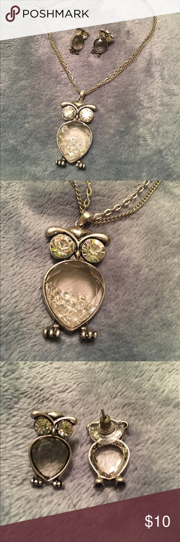 Silver owl necklace earring set owl