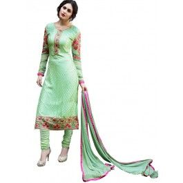 Light Green and Pink Embroidered Churidar Suit
