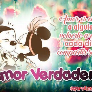 Tarjeta Hd Con Frase De Amor Verdadero Con Imagen De Mickey Y Minnie