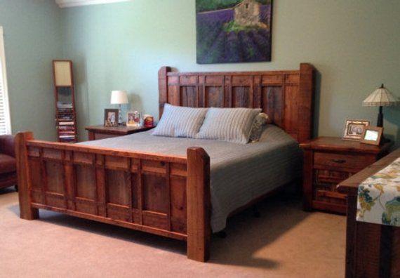 rustic barnwood cabin bed  wood bedroom furniture wood