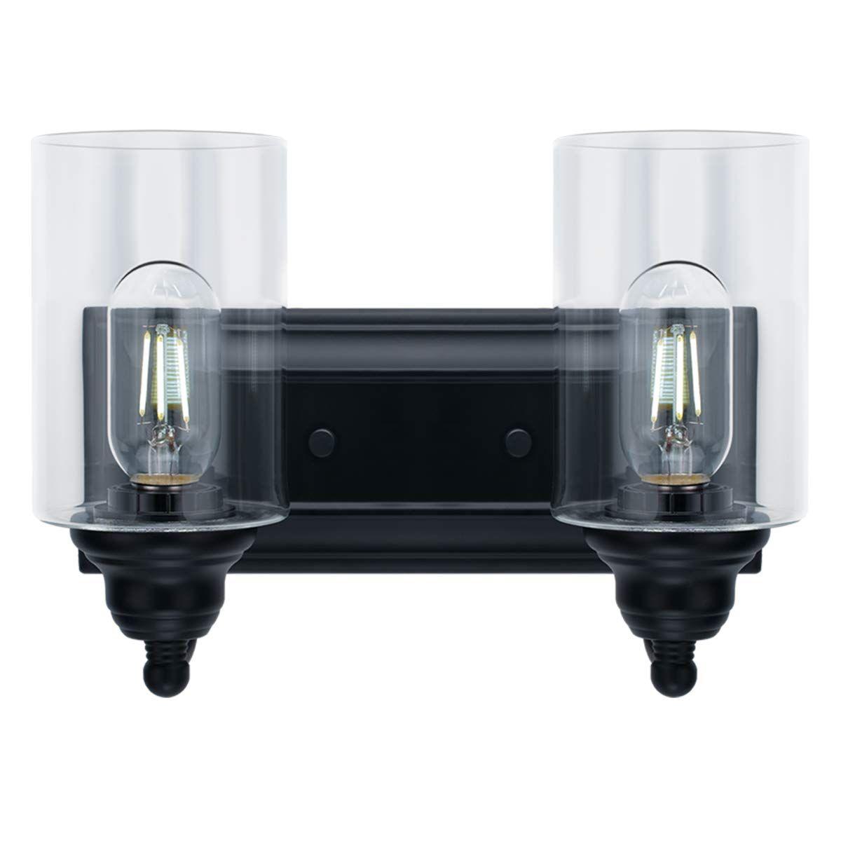 Photo of 2-Light Vanity Light Fixture Modern Clear Glass Shades Lighting Black Dining Room Lighting Fixtures