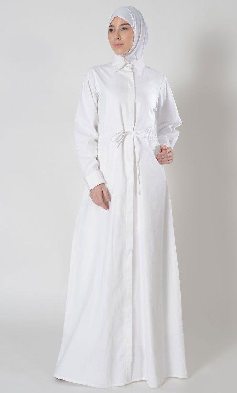 Model Baju Gamis Warna Putih Kombinasi Hitam di 8  Warna