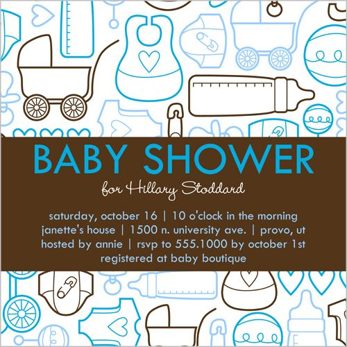 Bottles And Bibs Blue Baby Shower Invitation, shutterfly.com