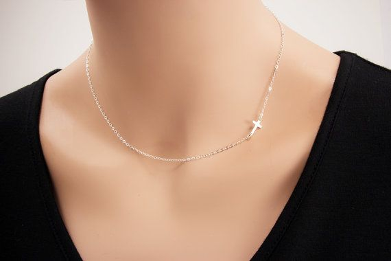 Sideways Cross Necklace - 100% Solid Sterling Silver      The solid sterling silver cross measures 16mm x 6mm. The chain is 16 flat cable with