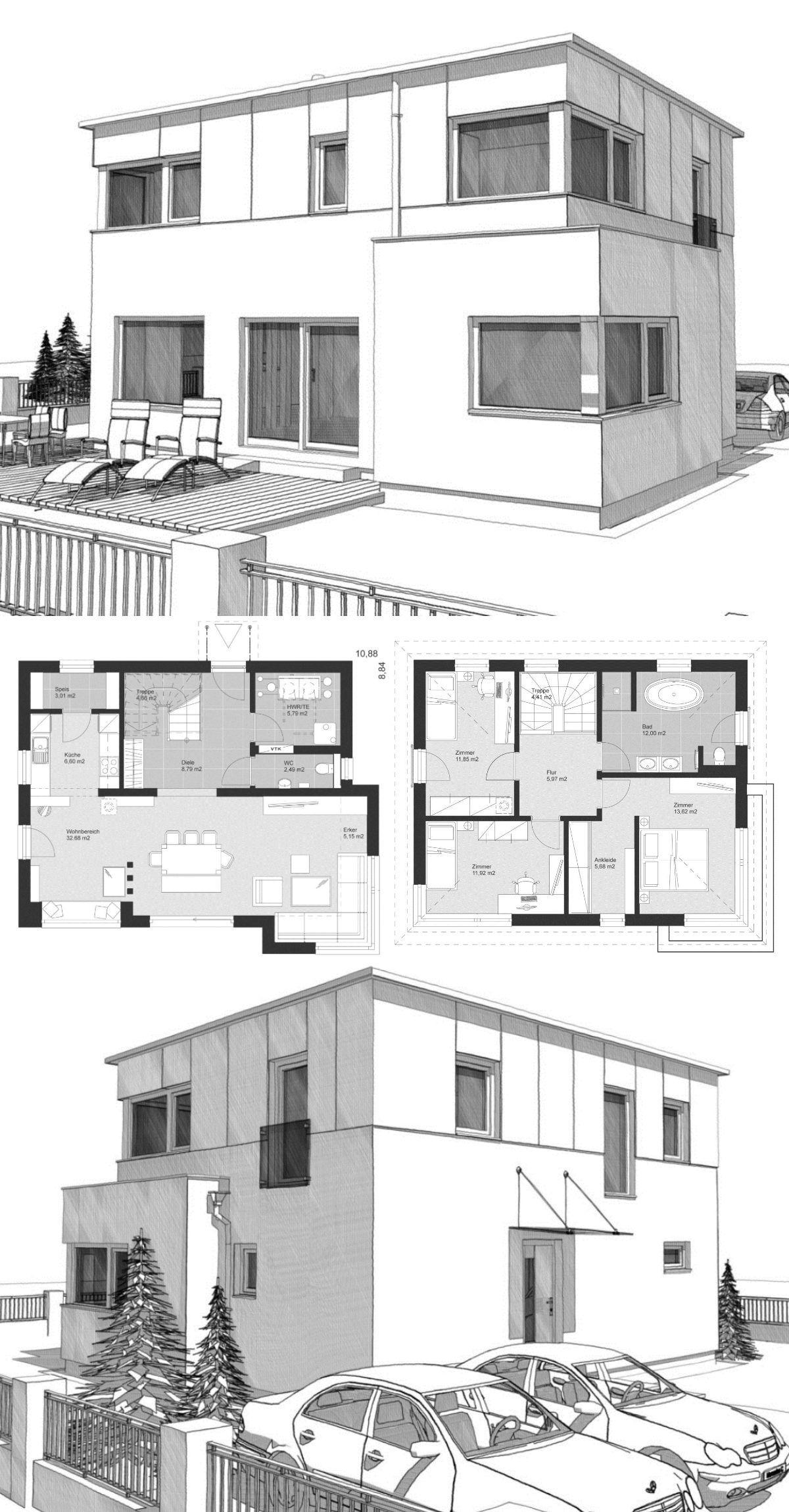 Einfamilienhaus Neubau modern mit Flachdach Architektur im