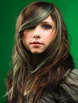 Medium Brown With Mint Green Streaks Andes Mint Hair Olive Hair Colour Dark Green Hair Olive Hair