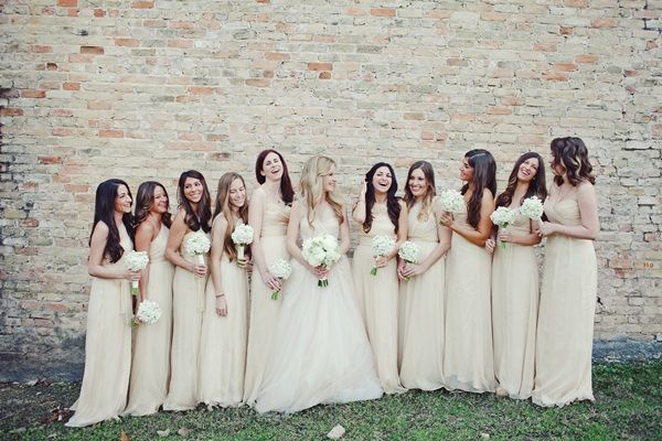 Long Light Taupe Bridesmaids Dresses | Taupe, Wall photos and Wedding