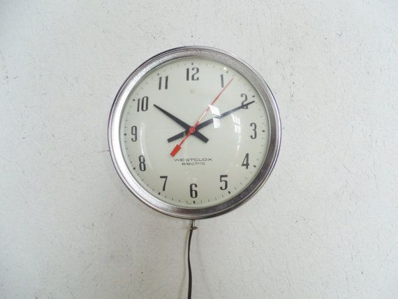 Vintage Industrial School Wall Clock Electric By
