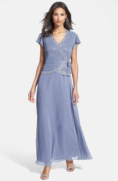 J Kara Embellished Mock Two-Piece Gown (Regular