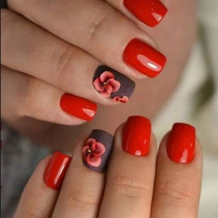 nails fall acrylic short red 15 ideas nails  fall
