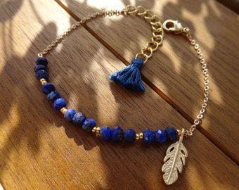 Azul oro Hamsa pulsera pulsera de Hamsa de oro con por cocolocca