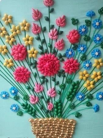 Поделки из макарон своими руками цветы для фото 387