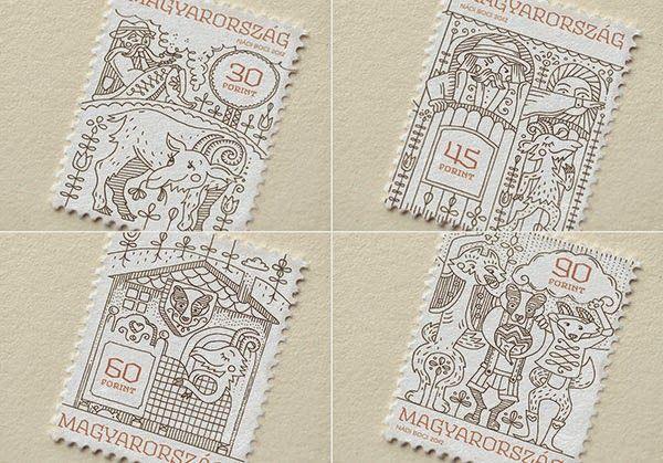 Stamp Design for Hungarian Folktales by Boglárka Nádi | Faith is Torment