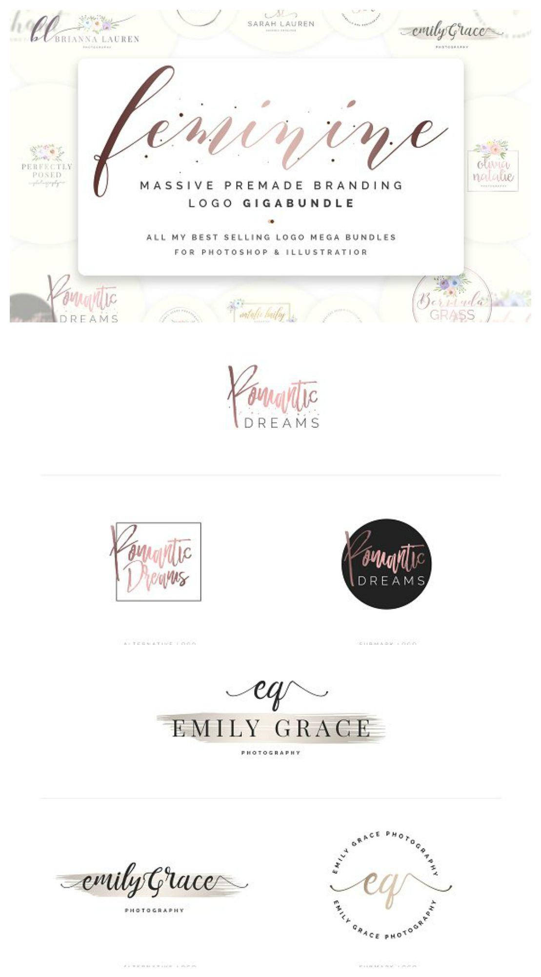 Feminine Premade Logo Gigabundle  Worth Of Best Selling
