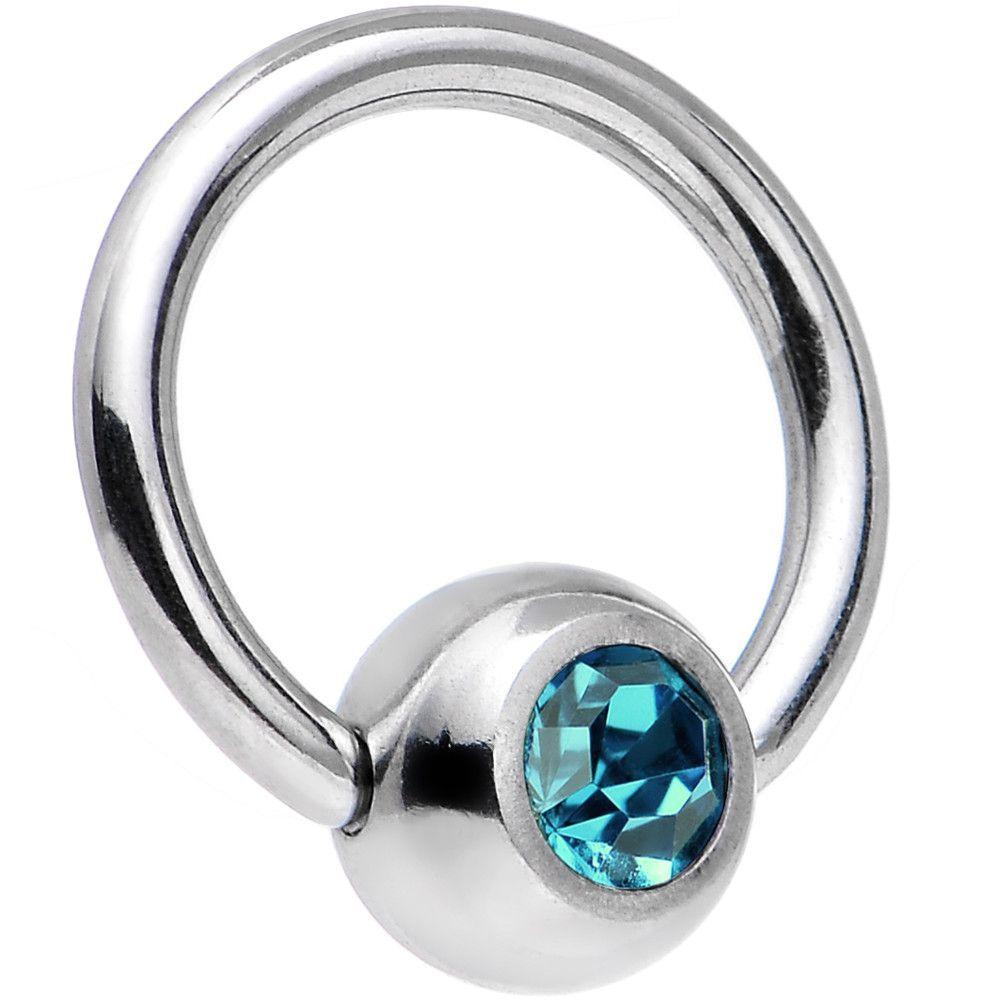 18 Gauge 1/4 Blue Zircon Captive Ring Created with Swarovski Crystals
