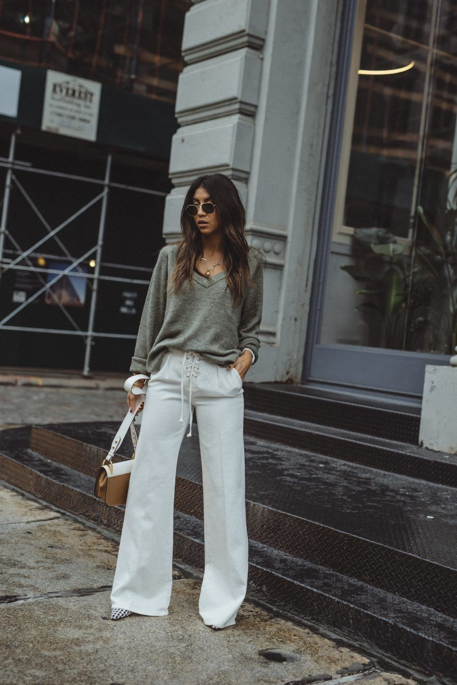 blog streetstyle not your standard fashion outfit style kayla seah prada  new york soho 11 corward chloe lace up flares h m sweater d09e81cabf