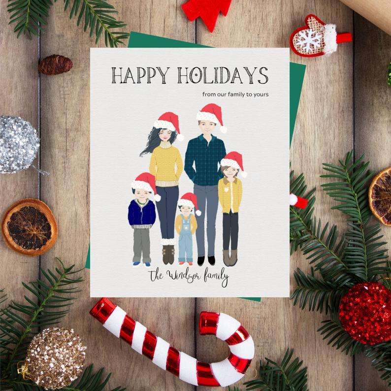 Family Cartoon Christmas Card Custom Family Portrait Family Photo Christmas Card Personalized Portrait Family Christmas Drawing Christmas Drawing Family Christmas Card Photos Christmas Cards