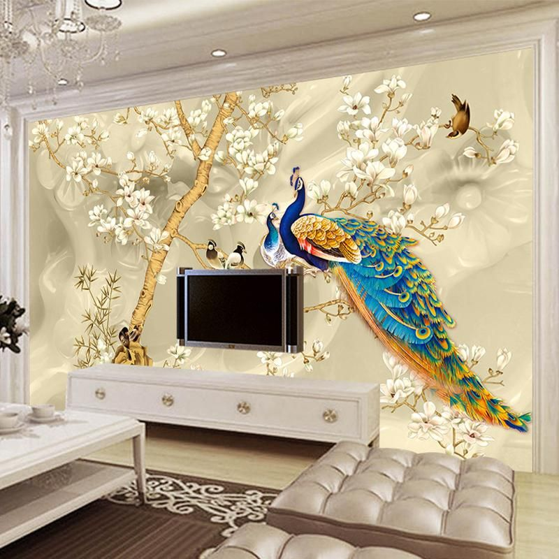 Best Custom Mural Wallpaper 3D Stereo Magnolia Flowers Peacock Wall Painting Living Room Tv Sofa 640 x 480