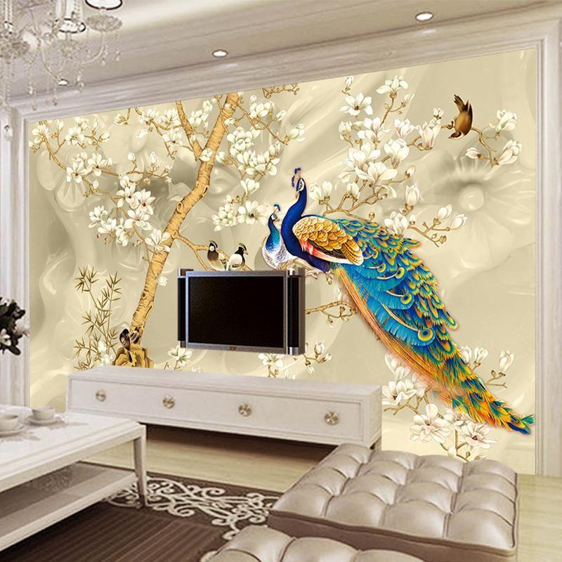 Custom Mural Wallpaper 3d Stereo Magnolia Flowers Peacock Wall