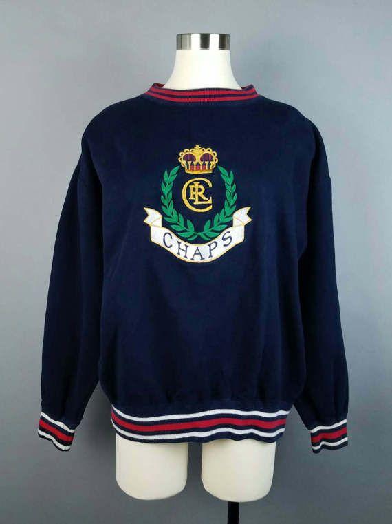 a4680ad62e010 90s Vintage Chaps Ralph Lauren Logo Sweatshirt Large