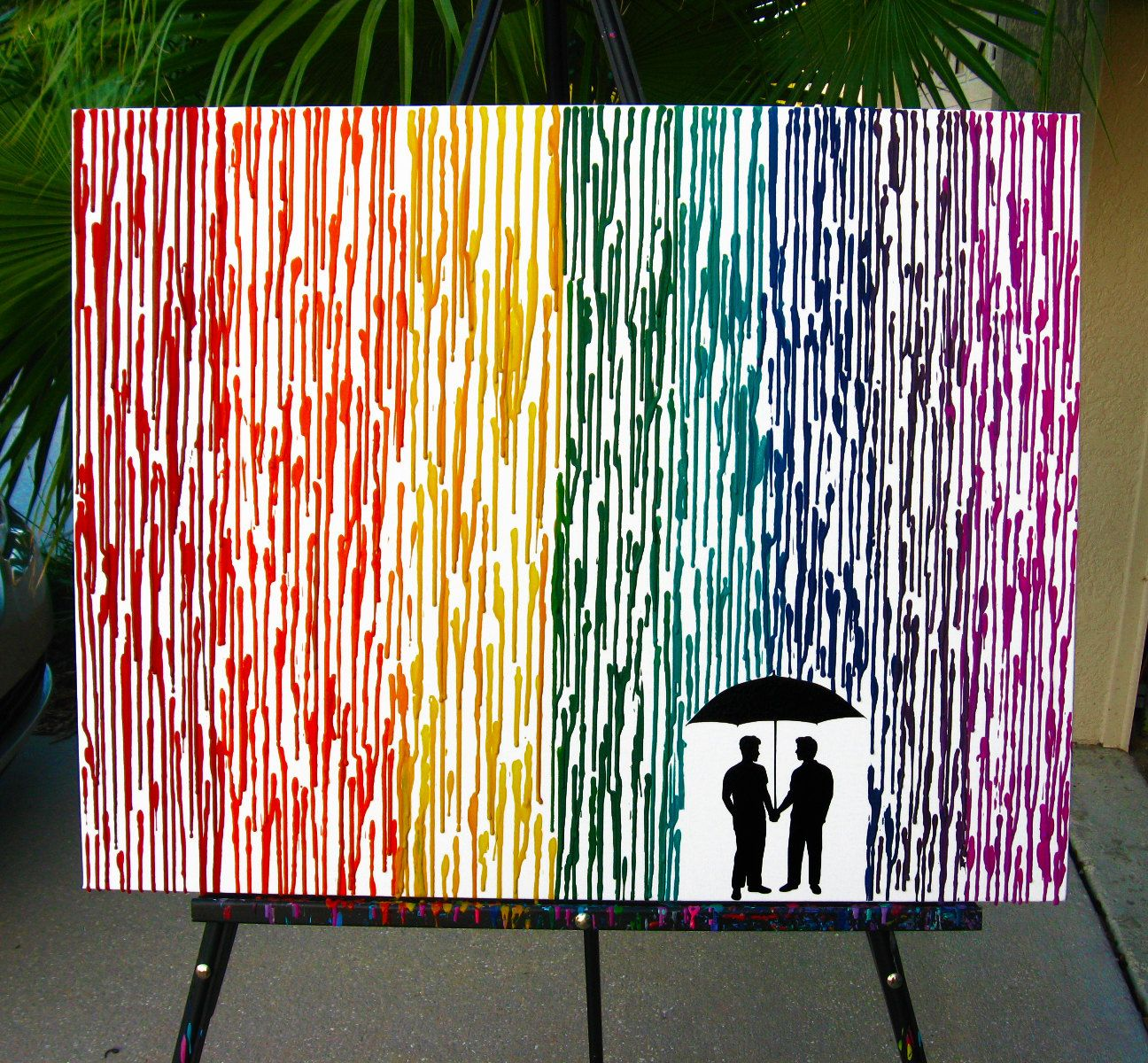 Gay Wedding Gift Melted Crayon Art Gay Men Art Couple Gift For Boyfriend Silhouette Rain Painting Rainbow Painting Wax Painting 22x28 by FemByDesign on ... & Gay Wedding Gift Melted Crayon Art Couple Gift For Boyfriend ...