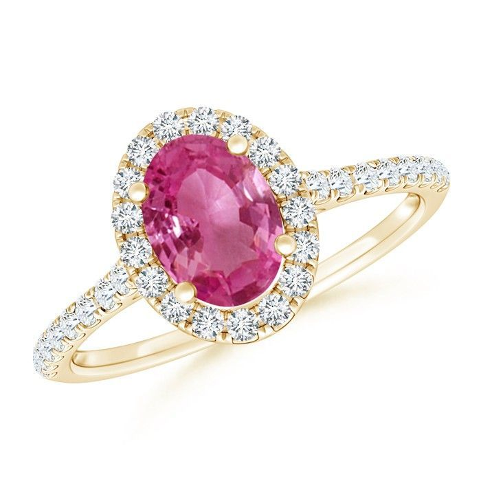 Angara Split Shank Pink Sapphire Solitaire Ring with Diamond Accent LQKyOp