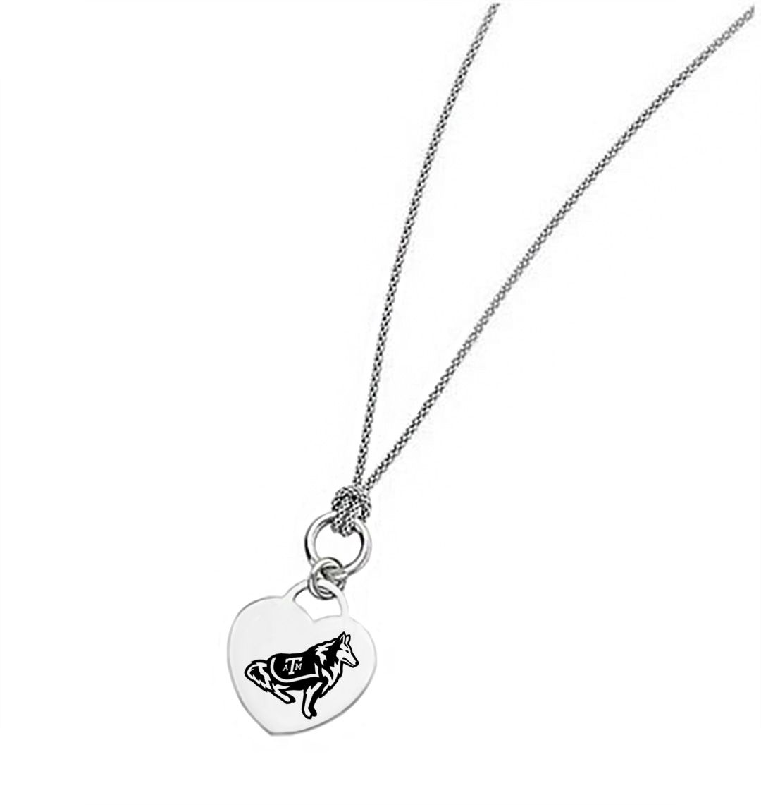 Texas A M Aggies Heart Necklace Texas A M Jewelry Sterling