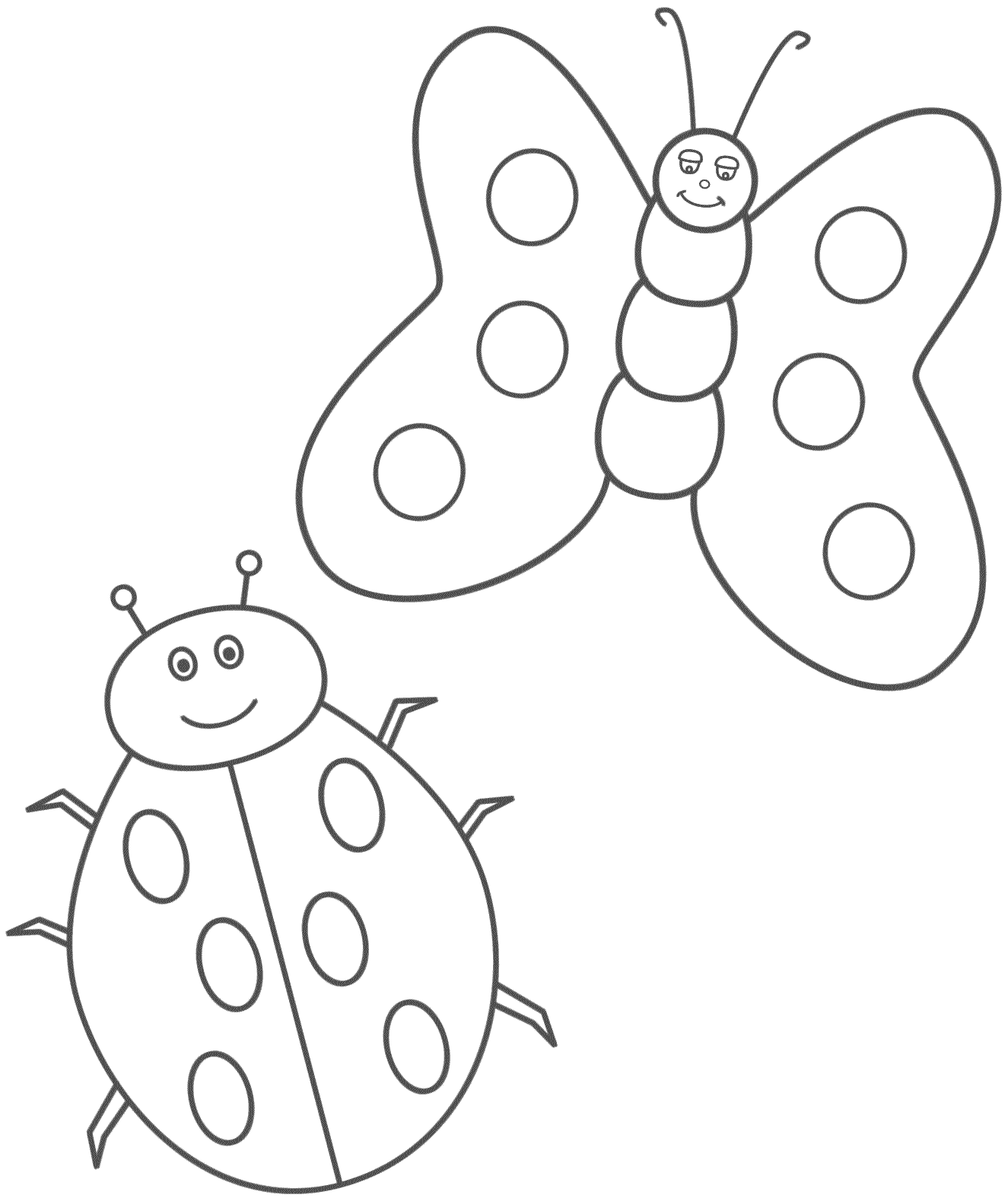 Coloring Page Ladybug Coloring Page Butterfly Coloring Page Bug Coloring Pages [ 1575 x 1325 Pixel ]