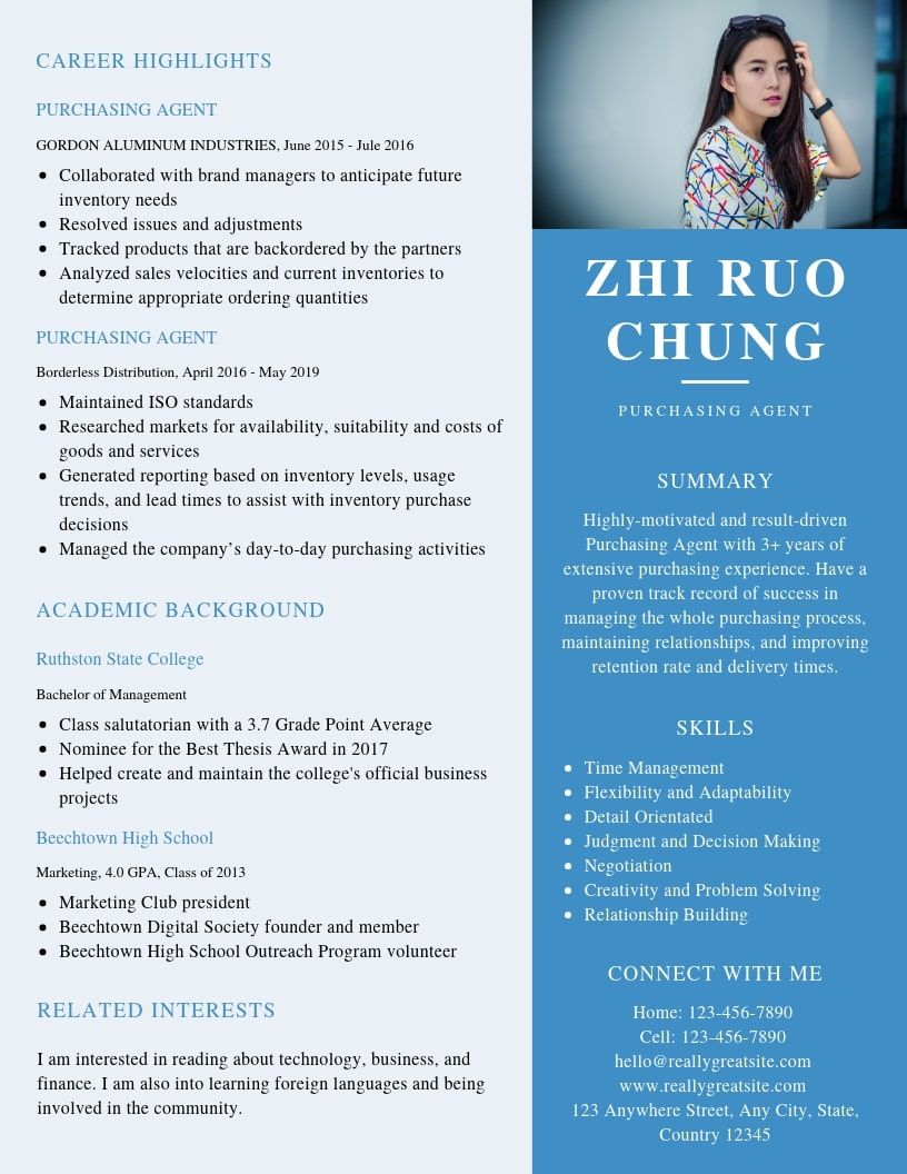 Purchasing Agent Resume Samples & Templates [PDF+Word